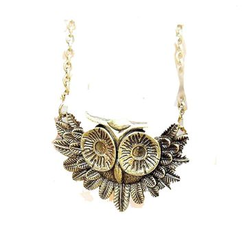 Women's Vintage Gold Plated Owl Pendant Necklaces