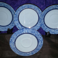 A Set of Four Royal Staffordshire Davenport Blue/Gold Trim Bread and Butter Plates Pattern 635696