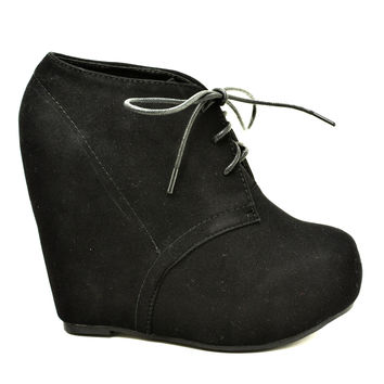 Camilla1 Women Faux Suede Lace Up Platform Wedge Ankle Bootie