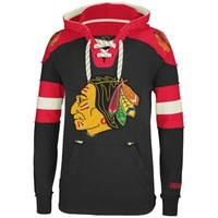 Reebok Chicago Blackhawks CCM Pullover Hoodie - Black