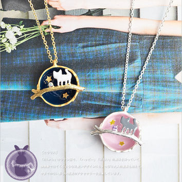 Shiny Jewelry Stylish Gift New Arrival Accessory Gemstone Cats Necklace [6056916289]