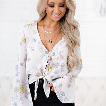 Summertime Romance Floral Top (Ivory)