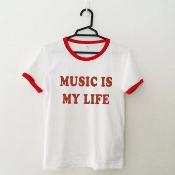 Music is my life Red & black ringer shirts t shirt women lady tumblr t-shirts Unisex fashion tshirts graphic tees TOPS