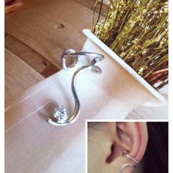 Ear Cuff wire with rhinestone - wraped earring - Boho ear cuff- Punk ear cuff