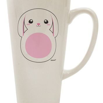 TooLoud Cute Bunny with Floppy Ears - Pink 16 Ounce Conical Latte Coffee Mug