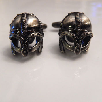 Viking Battle Helmet Cufflinks, War Cufflinks, Wedding Cuff Links, Father's Day Cuff Links, Graduation Gift