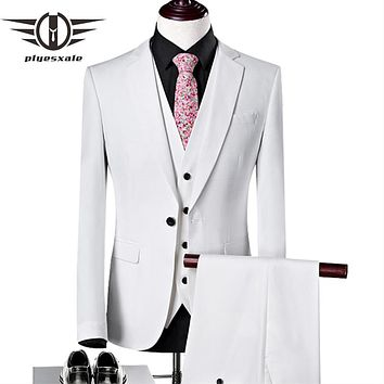 Men Slim Fit White Wedding Tuxedos For Men High Quality Costume Home Stage Prom Party Wear