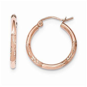 14K Rose Gold Light Weight Satin Diamond Cut Hoop Earrings