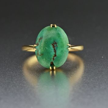 Art Deco Gold Turquoise Ring 1920s