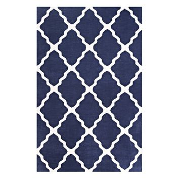 Marja Moroccan Trellis 5x8 Area Rug Navy and Ivory R-1003A-58