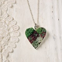 Heart Shaped Succulent Garden Necklace by WoodlandBelle on Etsy