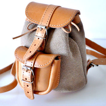 Petite Two Toned Nude Leather Backpack