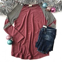 Cranberry Top with Striped Sleeve Detail