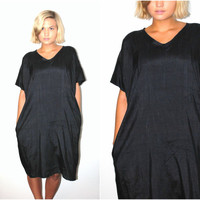 minimalist black silk dress handmade boxy relaxed fitting v neck caftan tshirt dress os