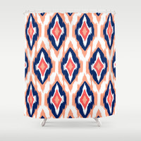 MODERN IKAT TRIBAL PATTERN | coral navy white Shower Curtain by Cheryl Daniels