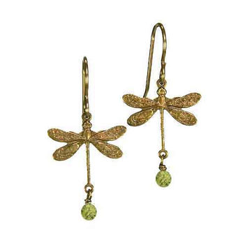 Dragonfly Earrings in Vintage Natural Brass with 4mm Serpentine Stones