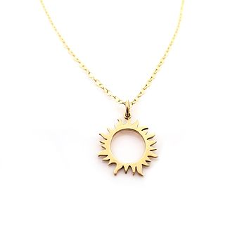 Sun Eclipse Charm Necklace - Dainty 14k Gold Filled Jewelry
