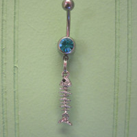Belly Button Ring - Body Jewelry -Silver Rhinestone Bone Fish with Lt. Blue Gem Stone Belly Button Ring