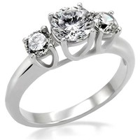 Past Present Future Round Brilliant CZ Stainless Steel Engagement Ring
