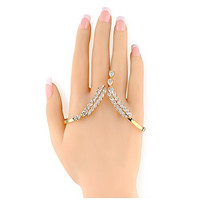 Mytys Cubic Zirconia Crystal Tassel 18k Gold Plated Adjustable Palm Cuff Bracelet Handlet for Lady