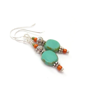 Turquoise Boho Dangle Earrings - Picasso Glass Oval Beads - Silver & Orange Earrings - Everyday Jewelry
