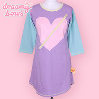 Buy 6%DOKIDOKI Heart Zip Mini Dress Top - Pastel at Dreamy Bows