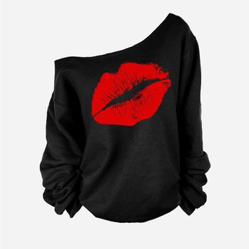 2015 Women Sweatshirts One Piece Red Sexy Lips Print Oversized Off The Shoulder Raw Edge Female Pullovers Long-Sleeved [8042432903]