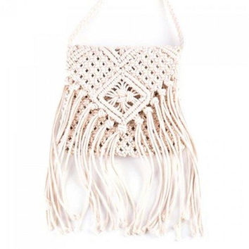 Bohemian Fringe and Weaving Design Crossbody Bag For Women