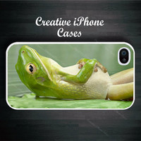 Funny Frog Relaxing Laying on his Back - iPhone 4 Case, iPhone 4S Case, iPhone 4 Cover