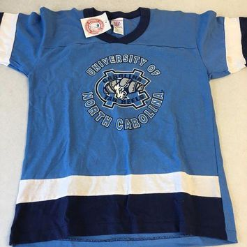 CREYONC. BRAND NEW YOUTH UNC NORTH CAROLINA TARHEELS RETRO NAVY STRIPE TEE SHIRT