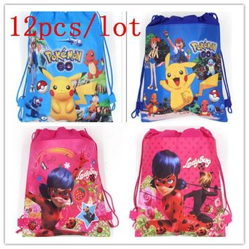 New 12Pcs Miraculous Ladybug Kid Birthday Party Bag Drawstring Back Pack Boy School Backpack  Colorful Knapsack Gift BagsKawaii Pokemon go  AT_89_9