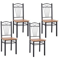 SALES 4PCS Steel Frame Dining Chairs Kitchen Modern Furniture Bistro Home Wood