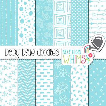 Baby Blue Scrapbook Paper – seamless doodle digital paper with polka dot, chevron & paisley patterns -pastel printable paper- commercial use