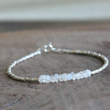 Moonstone Bracelet, Silver Beaded Bracelet, moonstone Jewelry, June Birthstone Bracelets, semi precious gemstone bracelet, Gifts for Her