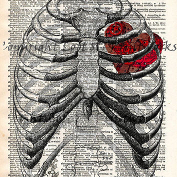 Steampunk clockwork heart, vintage anatomy ribcage, dictionary page book art print
