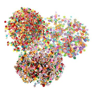 1000Pcs Nail Art Stickers Fimo Clay 3D 3 Series Flower Fruit Animal Design Nail Decals DIY Designer Manicure Decorations Flowers