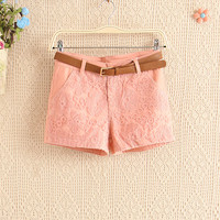A 082914 Lace Embroidery Stitching Casual Shorts