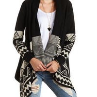 Geo-Bordered Cascade Cardigan Sweater - Black Combo