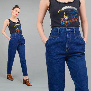 Vintage 80s Mom Jeans High Waist Denim Pants Pleated Front Seamed Waist Tapered Legs 1980s Cropped Jeans Small S 26