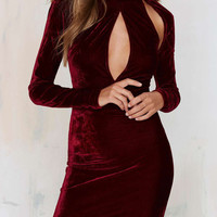 Burgundy Velvet High Neck Plunge Cut-out Bodycon Dress