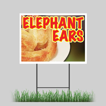 """18""""x24"""" Elephant Ears Yard Sign Snack Hot Fresh Concession Stand Sign"""
