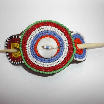 Vintage Beaded Southwestern Style Hair Accessory Bone Hair Stick Leather Backed