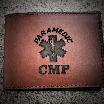 Custom Wallet, Paramedic wallet shown, EMT wallet, Design and Initials engraved Free! Made in the USA