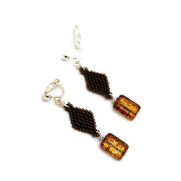 Brown Beaded Clip-on Earrings With Brown Czech Bead Accent