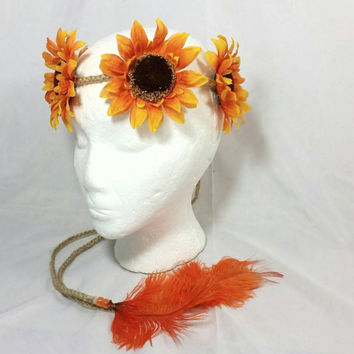 Hippie Sunflower Braided Twine Headband/Groovy Headband/Burning Man Headband/Feather Coachella Headband/Music Festival/Orange Feathers