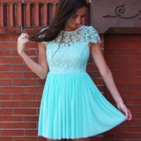 Finders Keepers Dress – Mint Floral Crochet Overlay Dress with Scoop Back & Pleat Skirt
