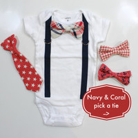 NAVY & CORAL bow tie and suspenders outfit. navy and coral tie. toddler coral tie. suspenders bodysuit tshirt newborn boybeach wedding.