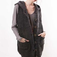 Knit Hooded Vest - Knit Sweaters at Pinkice.com