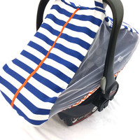 Fitted cotton car seat cover for spring/summer - blue and white striped fitted infant carseat canopy - Mosquito net baby carseat cover