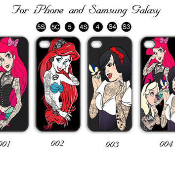 Tattooed, Princess,Disney,iPhone 5 case,iPhone 5C,iPhone 5S,Samsung Galaxy S3, Samsung Galaxy S4 Phone case,iPhone 4 Case, iPhone 4S Case